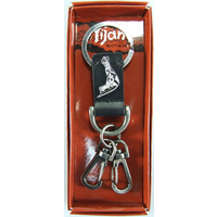 Yijan Aboriginal Art Vintage Boxed Leather Keyring- Kangaroo (Black)