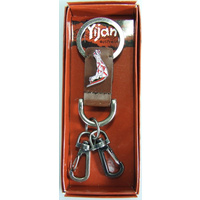 Yijan Aboriginal Art Vintage Boxed Leather Keyring- Kangaroo [Red]