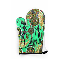 Bunabiri Aboriginal Art Mit/Pot Holder Set - Hunters & Gatherers Rainforest