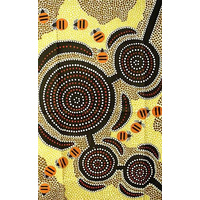 Aboriginal Art Cotton Teatowel - Going for Honey Ants