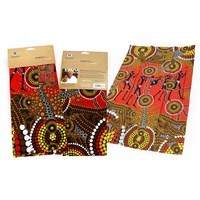 Bunabiri Aboriginal Art Cotton Teatowel - Hunters & Gatherers Land
