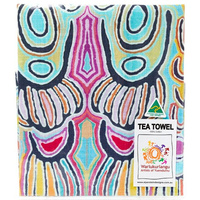 Warlu Australia Made Cotton Teatowel - Mina Mina Dreaming (Blue)