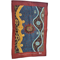 Yijan Aboriginal Art Cotton Teatowel - Crow Women Dreaming 2