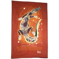 Yijan Aboriginal Art Cotton Teatowel - Saltwater Crocodile