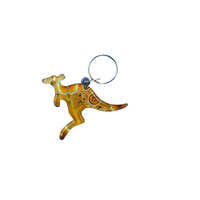 Aboriginal design Kangaroo Keyrings (acrylic) - 1 ONLY