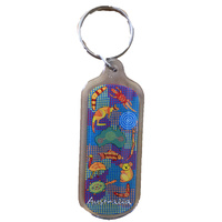 Australia Blue Map Aboriginal Tag Keyring