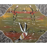 Canvas Board (10x12) - Brolga Dancers (2)