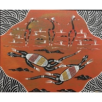 Canvas Board (10x12) - Goanna Dancers (3)