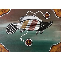 Aboriginal Handpainted Canvas Board (5x7) - Thuggai the Yellow Belly