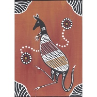 Handpainted Aboriginal Art Canvas Board (5x7) - Bohra the Kangaroo