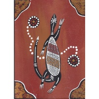 Handpainted Aboriginal Art Canvas Board (5x7) - Oola the Lizard