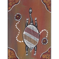 Handpainted Aboriginal Art Canvas Board (5x7) - Wayamba the Turtle