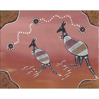 Handpainted Aboriginal Art Canvas Board (8x10) - Kangaroo