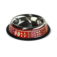 Stainless Steel Aboriginal Art Pet Bowl - Yam & Bush Tomato Dreaming