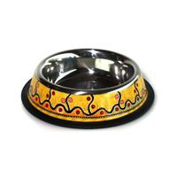 Stainless Steel Aboriginal Art Pet Bowl - Marsupial Mouse Dreaming