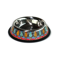 Stainless Steel Aboriginal Art Pet Bowl - Tarrkarr Trees