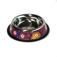 Stainless Steel Aboriginal Art Pet Bowl - Water Soakages