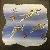 David Miller Aboriginal Art Stretched Canvas (30cm x 30cm) - 3 Flying Kangaroos