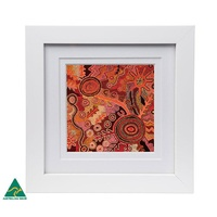 Framed Warlukurlangu Aboriginal Art Print - Vaughan Springs Dreaming
