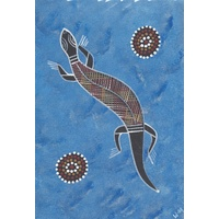 Original Handpainted A4 Canvas - Goanna (Blue)