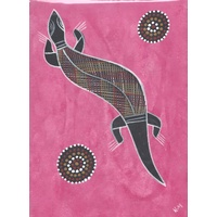 Original Handpainted A4 Canvas - Goanna (Pink)