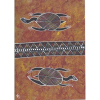 Original Handpainted A4 Canvas - 2 Turtles (Brown)