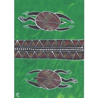 Original Handpainted A4 Canvas - 2 Turtles (Green)