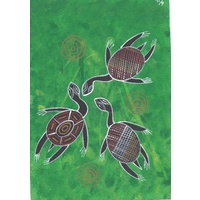 Original Handpainted A4 Canvas - 3 Turtles (Green)
