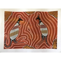 Pawarra (Red Kangaroo) (50cm x 38cm) Unstretched Canvas