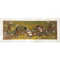 Red Kangaroo Hunting (49cm x 20cm) Unstretched Canvas
