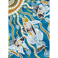 Koolbardi Aboriginal Art A5 Notepad - Summer Fish