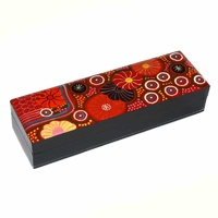 Lacquered Aboriginal Art Pencil Box - Travelling Through Country