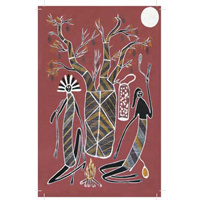 True Blue Aboriginal Art Small Notepad - Mimi Spirits & Boab Tree