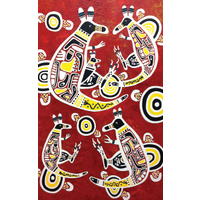 True Blue Aboriginal Art Small Notepad - Kangaroo & Joey Dreaming