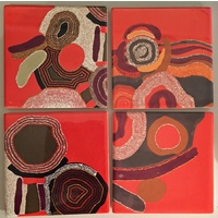 Jijaka Aboriginal Art Ceramic Coaster Set (4) - Desert Song