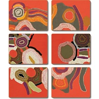 Jijaka Aboriginal Art Boxed Cork Coaster Set (6) - Desert Song