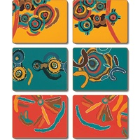 Jijaka Aboriginal Art Boxed Cork Coaster Set (6) - Summer Camp