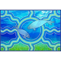 Recycled Aboriginal Placemat/Mouse Pad (1) - Sea Turtle (Life Goes Round)