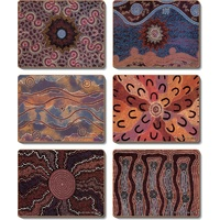 Yijan Aboriginal Cork Giftboxed Placemat Set (6) - Fire & Water Dreaming