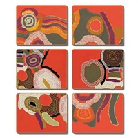 Jijaka Aboriginal Art Cork Placemat/Coaster Set (6) - Desert Song