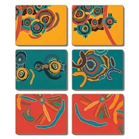 Jijaka Aboriginal Art Cork Placemat/Coaster Set (6) - Summer Camp