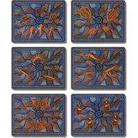 Jijaka Aboriginal Art Cork Placemat/Coaster Set (6) - Tribal Totems