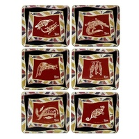 Yijan Aboriginal Art Cork Placemat/Coaster Set (6) - Land & Sea Animals