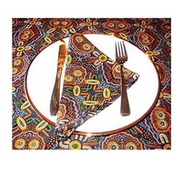 Keringke Aboriginal Art Cotton Tablecloth + 4 Napkins (Brown)