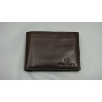Balarinji Aboriginal design Brown Leather Men's Wallet - Sand Dunes (1 fold)