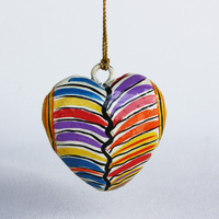 Better World Aboriginal Art Heart Xmas Decorations (Small) - Mina Mina Jukurrpa