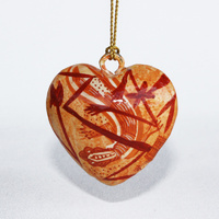 Better World Aboriginal Art Heart Xmas Decorations (Small) - Mimih Spirits