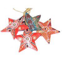 Iwantja/Keringke/Tobwabba Aboriginal Art design Paper Mache Xmas Decoration - Star