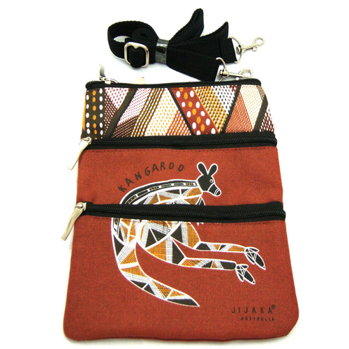 Jijaka 3 Zip Canvas Shoulder Bag -  Kangaroo