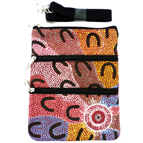 Yijan 3 Zip Aboriginal Canvas Shoulder Bag  - Crow Women Dreaming